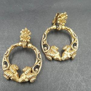 Rare Vintage Florenza Ram Head Earrings